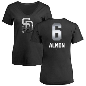 Bill Almon San Diego Padres Women's Black Midnight Mascot V-Neck T-Shirt -