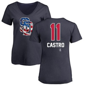 Jason Castro San Diego Padres Women's Navy Name and Number Banner Wave V-Neck T-Shirt -