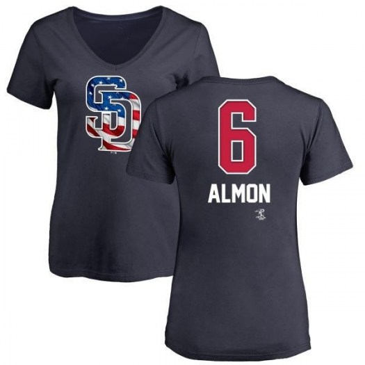 Bill Almon San Diego Padres Women's Navy Name and Number Banner Wave V-Neck T-Shirt -